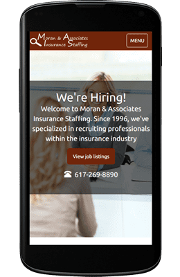 Sample mobile-friendly recruiter staffing agency website designed by Emothy