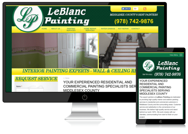 Sample mobile-friendly house painter and construction website designed by Emothy
